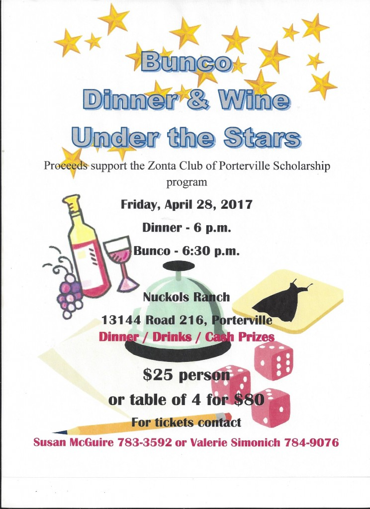Bunco Dinner & Wine Under the Stars @ Nuckols Ranch | Porterville | California | United States